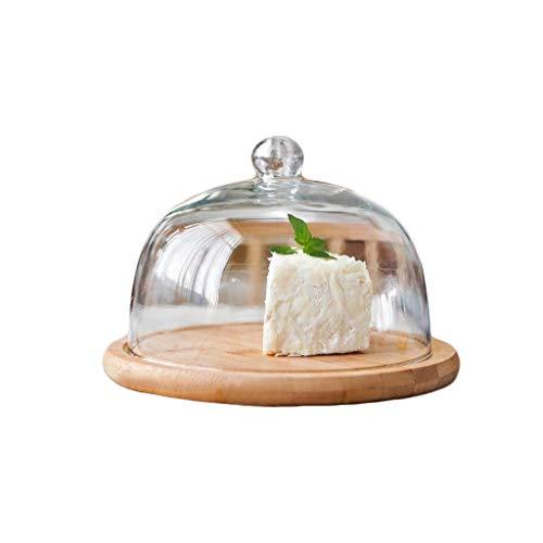 SZQ-Kuchenstand Obst Frische Cover, Restaurant Dust Cover Haushalt Hotel Holz Disc Schokolade Pizza Tray Anti-Rutsch-Glaskuppel Käseplattenabdeckungen (Size : 29.3 * 21.5CM)