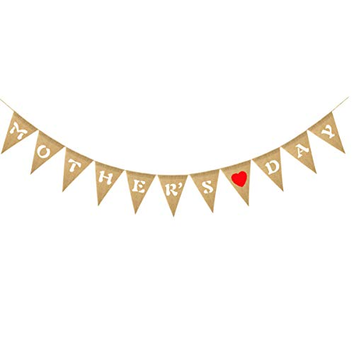 IMIKEYA 2M Bandera de Arpillera del Día de Las Madres Decoraciones del Partido del Día de Las Madres Guirnalda del Empavesado del Brillo Fondos de La Foto Decoración de La Señal para La