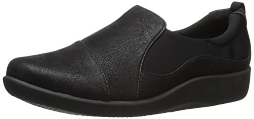 Clarks Women's CloudSteppers Sillian Paz Slip-On Loafer, Black Synthetic Nubuck, 8 W US