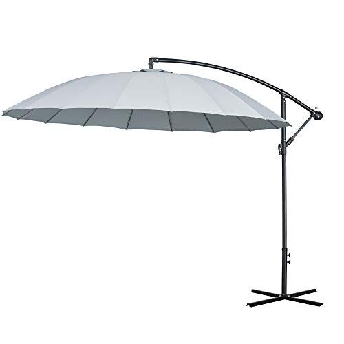 Outsunny Sombrilla Ø300 cm Parasol de Jardín con Manivela Manual 18 Costillas y Ángulo Ajustable del Techo Base Cruzada Gris