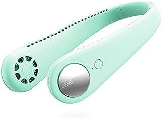 Taohou Cuello Colgante sin Hojas Ventilador pequeño Recargable Ventilador de enfriamiento Deportivo Ultra silencioso-Verde