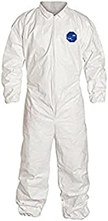 DuPont Tyvek 400 TY125S Disposable Protective Coverall with Elastic Cuffs, White, Large (Pack of 25)