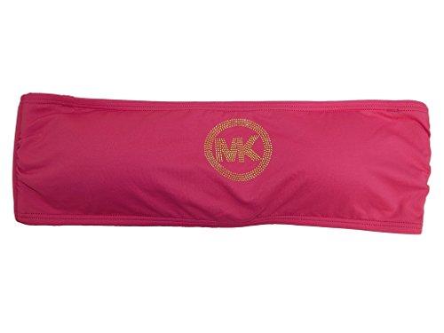 Michael Kors Logo Bandeau Swim Top (Medium, Radiant Pink)