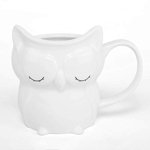 el & groove 3D Porzellan Eule in weiß, Kaffeetasse 250 ml (340 ml randvoll), Tee-Tasse aus Porzellan, Tasse für Morgenmuffel, Owl, Schlafmütze, Eulen Deko, Geschenk Eule, Porzellan Eule, Geschenkidee