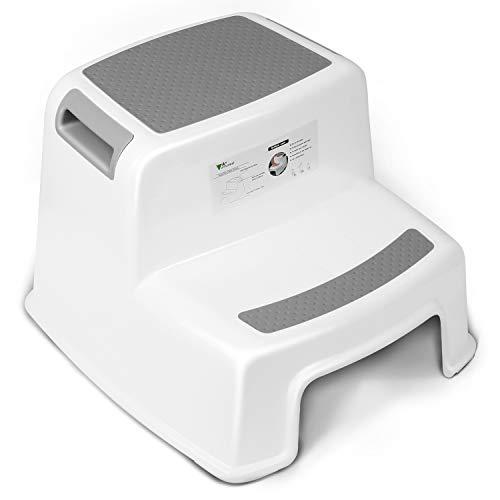Amzdeal Taburete con doble escalón para niños, Taburetes en dos etapas para niños con revestimiento antideslizante, usar en la cama y baño, Blanco y Gris
