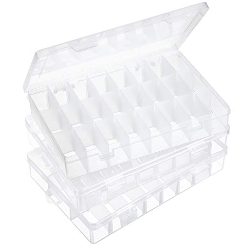 3 Pieces Clear Plastic Jewelry Box with Adjustable Dividers Plastic Grid Box Bead Earrings Storage Container Organizer for Jewelry Makeup Ring Earring Necklace Crafts Fishing Tackles, 24 Grids