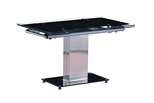 MILAN Dt Annie Black Glass Extendable Dining Table