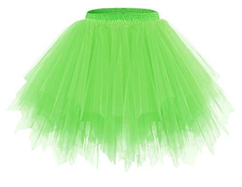 bridesmay Tutu Damenrock Tüllrock 50er Kurz Ballet Tanzkleid Unterkleid Cosplay Crinoline Petticoat für Rockabilly Kleid FluorescenceGreen XL