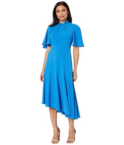 Maggy London Women's Catalina Crepe Twist Neck Asymmetrical Hem Midi Dress