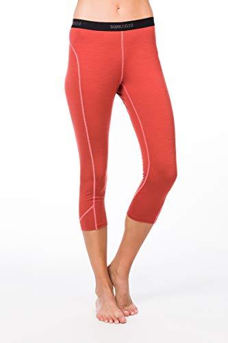 super.natural Damen Funktions-Unterhose, 3/4 Länge, Mit Merinowolle, W BASE 3/4 TIGHT 175, Größe: S, Farbe: Hellrot/Rosa
