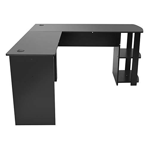 Gmkjh Escritorio de Madera, Utilidad de Madera para Oficina, Escritorio para computadora, Juegos para el hogar, PC, Muebles, Mesa de Esquina, Negro