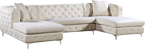 Meridian Furniture 664Cream-Sectional Gail Collection Modern | Contemporary Velvet Upholstered 3 Piece Sectional with Deep Button Tufting in a Rich Chrome Finish, Cream, 127' W x 69.5' D x 30.5' H