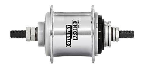 STURMEY ARCHER Getriebenabe Duomatic Kick-Shift 2-Gang, SB-verpackt Gangwechsel erfolgt durch leichtes Rücktreten der Pedale, aus Aluminium, mit Zubehör, ohne Zahnkranz, 67mm Flansch-Ø, 32 Loch, mit Freilauf, silber