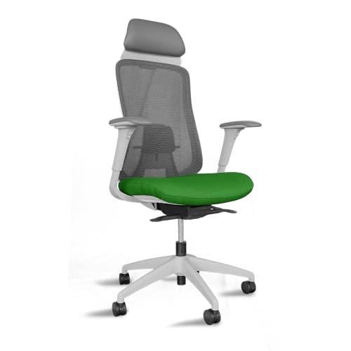 Silla ergonómica de Oficina y Escritorio con Cabezal, Respaldo Malla | Asmara Blanca Verde (Entrega 24H)