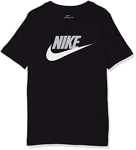 Nike B NSW Tee Futura Icon TD T-Shirt Garçon, Black/(lt Smoke Grey), FR : M (Taille Fabricant : M)