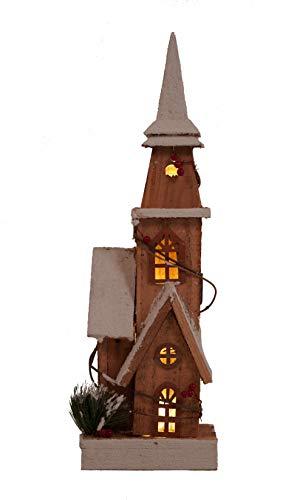 LED Holz Kirche 48 cm - Weihnachtsdeko Haus 10 LED - Deko Winterhaus Holzhaus