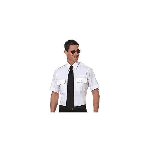Van Heusen Mens Pilot Shirt - White- Short Sleeve - 16 1/2