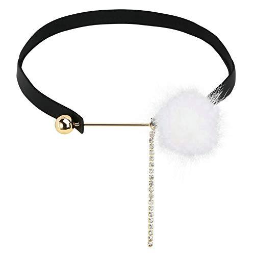 KnSam Edelstahl Halskette Perle Pom Pom Ball mit Kette Schwarz-Weiss Halskette