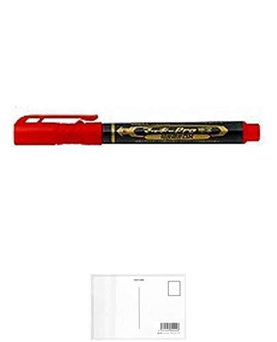 ゼブラ 油性マーカー マッキープロ細字 特殊用途DX YYSS10-R 赤 【× 7 本 】 + 画材屋ドットコム ポストカードA