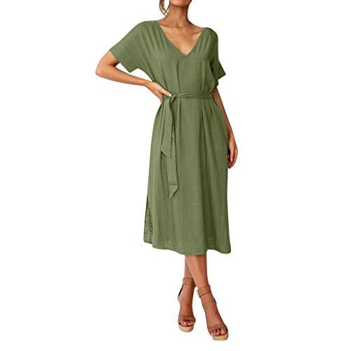 FeiBeauty Damen Leinenkleid für den Sommer Boho Einfarbig Kurzarm V-Ausschnitt Casual Kleid Lose Strandkleid Mit Gürtel S-XL