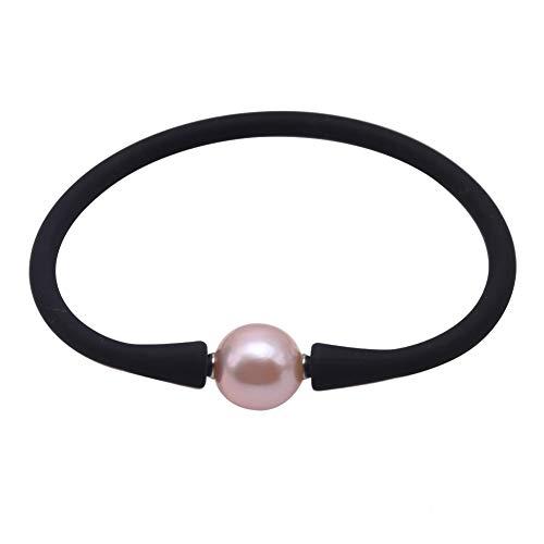 JYX Pearl Women Stretch Rope Bracelet 11-12mm Round Freshwater Pearl Bracelet 7.5in (lavender pearl)