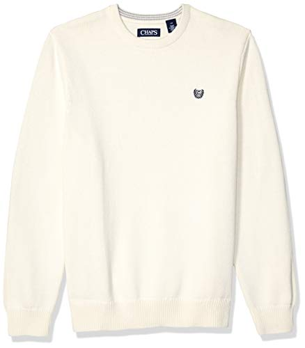 Chaps Men's Classic Fit Cotton Crewneck Sweater, Essex Cream, L