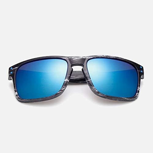YUHANGH Occhiali da Sole in Legno alla Moda Uomo Occhiali da Sole Sportivi Riflettenti Occhiali Quadrati all'aperto