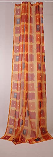 Cortina universal de voile semitransparente, 225 x 140 cm (alto x ancho), color naranja