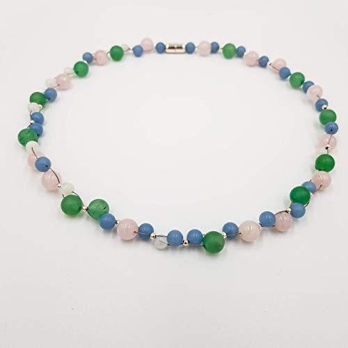 charakterperle Design Edelsteinkette inspiriert von Claude Monet - rosa Rosenquarz blau Angelit grün Aventurin weiss Mondstein - Einzelstück Unikat...