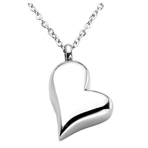 Jovivi - Collar con colgante de urna de acero inoxidable con forma de corazón y caja de regalo