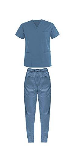 Outlet Divise Divisa ospedaliera Uniforme Medica Casacca + Pantalone Scollo AV Unisex Colori A Scelta (M, Celeste)