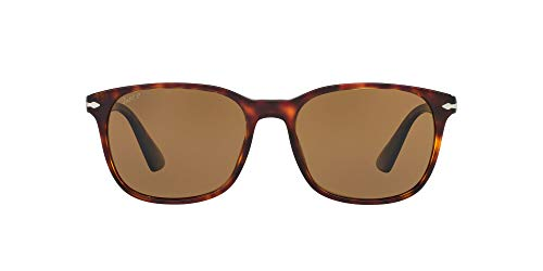 Persol PO3164S Rectangular Sunglasses, Havana/Brown Polarized, 56 mm