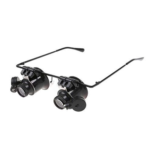 Monlladek Maikou 20X Lupen Brillen Juwelier Reparatur Brillen Uhr Reparatur Lupen LED-Leuchten Brille Lupenlinse (Schwarz)