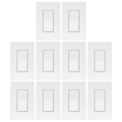 10 Pack - ELECTECK UL Listed Single Pole Quiet Light Switch, Screwless Wallplate, 15Amp 120 Volt, Commercial Grade, White
