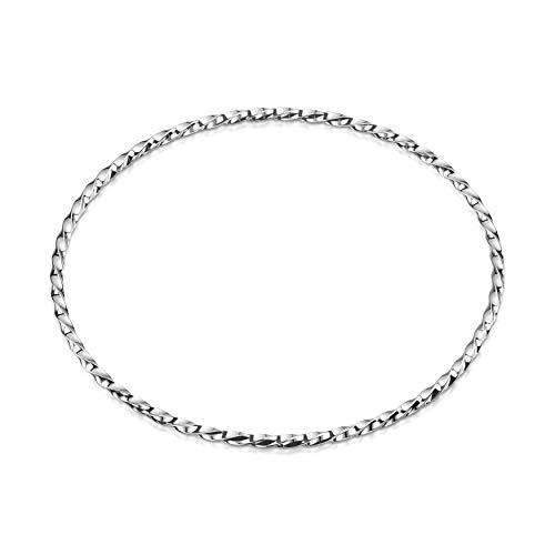 Amberta Echt 925 Sterling Silber - der Elegante Armreif für Damen - Verdrehten Design - Armband Durchmesser 68 mm - Breite 2.1 mm