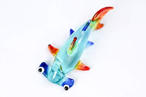redchocol8 Handmade Blue Little Glass Hammerhead Shark Gloss Garden Decor Ornament Gift