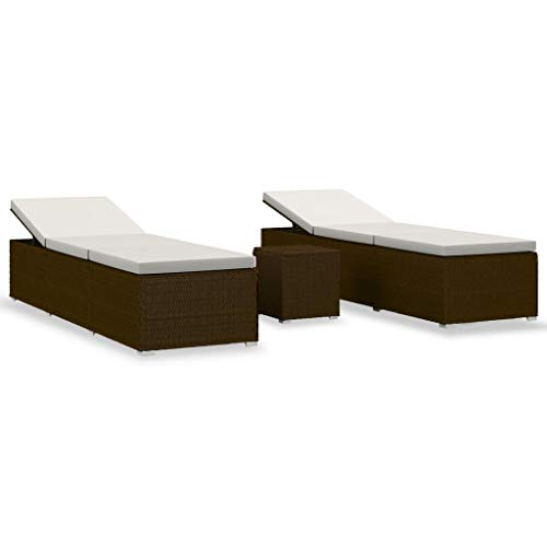 vidaXL Chaises Longues de Jardin et Table à Thé 3 pcs Transat de Patio Bain de Soleil de Balcon Camping Extérieur Résine Tressée Marron