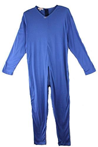 IUPITER Pijama entero sanitario para personas con cremallera, 100% algodón, manga larga turquesa M ⭐