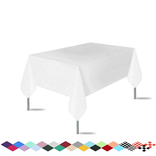 3 Pack Premium Disposable Plastic White Tablecloth ( 54'x 108' ) , Rectangle Table Cover for Wedding, Party, Banquet, Burgundy