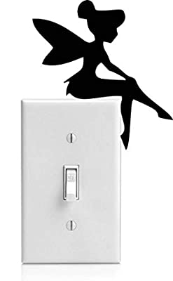 Tinker Bell Sitting on Light Switch Facing Right Vinyl Wall Decal (4 X 4.25 Inches)