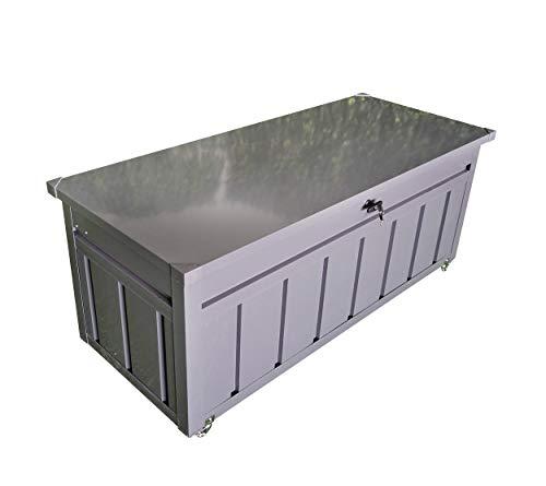 Koll Living Garden Gartenaufbewahrungsbox mit Rädern, aus Metall, anthrazit - stabile Metallbox für Haus, Garten und Balkon - trockene und sichere Lagerung von Gartenwerkzeug, Kissen und Spielzeug