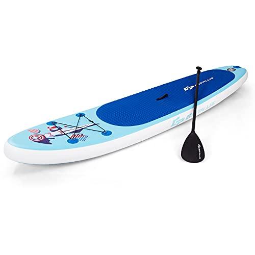 COSTWAY Tabla Hinchable Paddle Board Surf Sup 305 x 76 x15cm Incluye Mochila,Bomba,Línea de Seguridad,Aleta Central y Kit de Reparación Stand Up