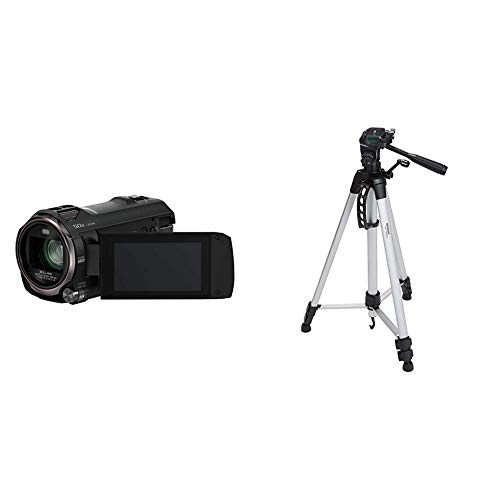 Panasonic HC-V777EG-K Full HD Camcorder (Full HD Video, 20x Opt. Zoom, Opt. Bildstabilisator) schwarz & AmazonBasics Leichtes Stativ, bis 1,52 m, inkl. Tasche, mit 3-Wege-Schwenkkopf und Wasserwaage