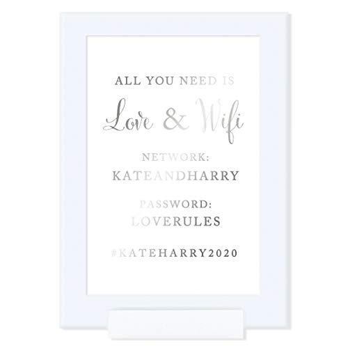 Andaz Press Framed Personalized Wedding Party Signs, Metallic Silver Ink, 4x6-inch, All You Need is Love and WiFi, Network, Password, KATEHARRY2021, 1-Pack, Colored Decorations, Custom