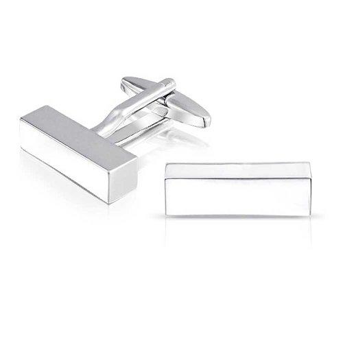 Bling Jewelry Barra Bloque Rectángulo Sólido para Hombres Camiseta Personalizado Geme Geme Acero Tono Plata Latón Bisagra Graduación