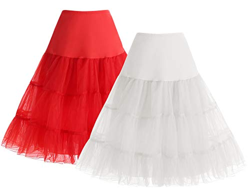 Bbonlinedress 1950 Petticoat Reifrock Unterrock Petticoat Underskirt Crinoline für Rockabilly Kleid White+Red M
