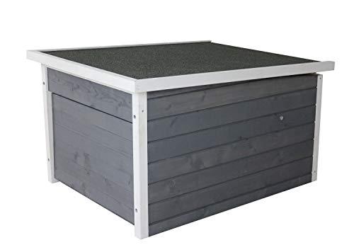 Rasenroboter-Garage, Rasenmäher Haus für selbstfahrende Rasenmähroboter, Holz grau-weiß - 3