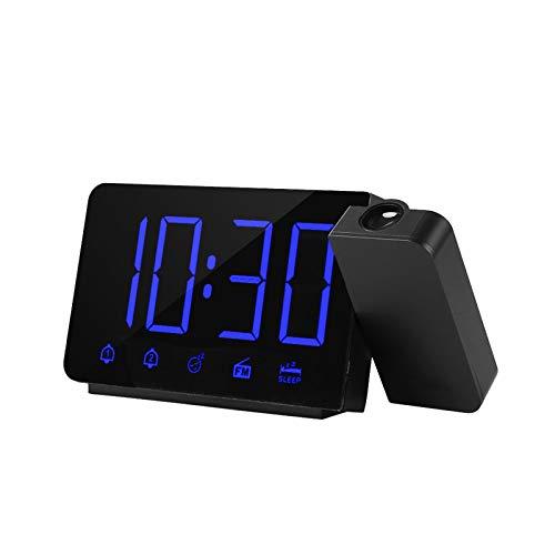 Katerk Reloj digital con alarma de proyección, proyector de 180 °, con función de repetición de radio FM, 4 atenuadores, doble alarma, carga USB, reloj digital 12 H/24 H para dormitorios