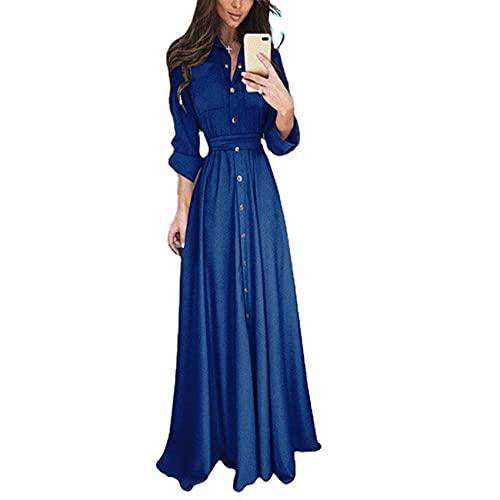 WXDSNH Smal långärmad knapp snörning damer lång kjol klänning