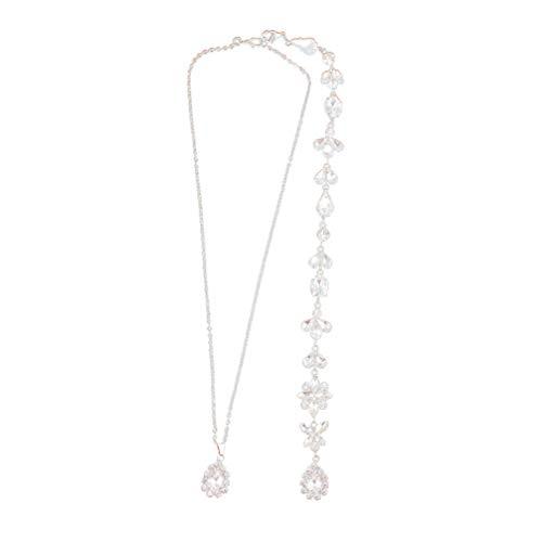 Happyyami Kristall Zurück Halskette Brautkleid Strass Halskette Rückenfreies Kleid Zurück Tropfen Körperkette für Hochzeitsfeier (Silber)